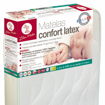 Matelas bébé confort latex 70 x 140 cm Lilou miaka