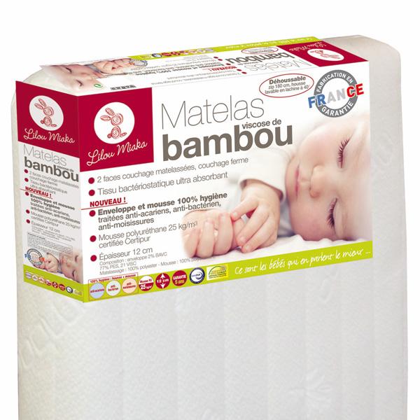 Matelas bébé viscose bambou 70 x 140 cm Lilou miaka