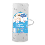 Matelas de voyage bébé imprimé blanc gris 60 x 120 cm pas cher