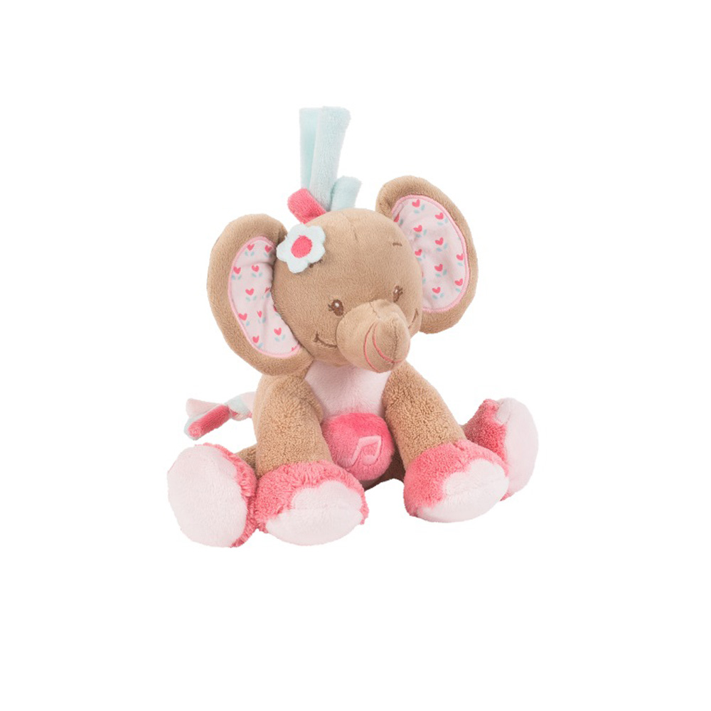 peluche b b mini musical l 39 lephant rose de nattou. Black Bedroom Furniture Sets. Home Design Ideas