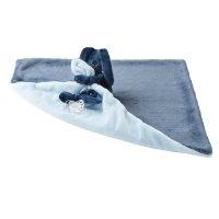 Doudou couverture lapidou bleu marine/ bleu ciel