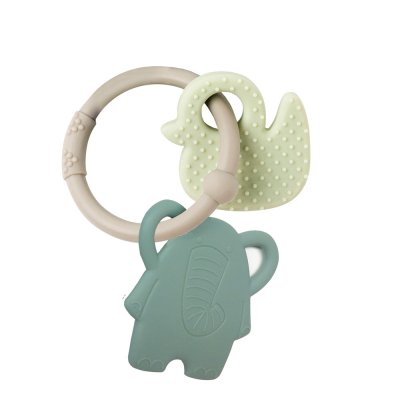 Anneau dentition silicone elephant et canard anneau gris Nattou
