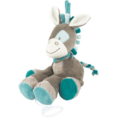 Peluche bébé cheval musical gaston Nattou