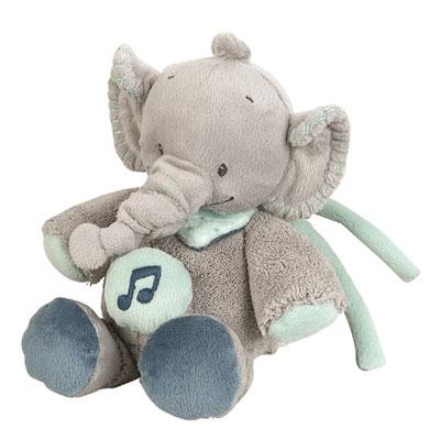 Peluche bébé mini-musical l'élephant jack Nattou