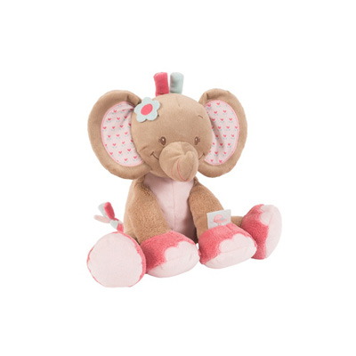 Peluche bébé l'éléphant rose Nattou