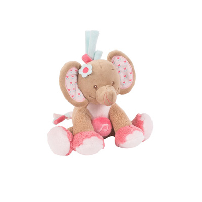 Peluche bébé mini musical l'élephant rose Nattou