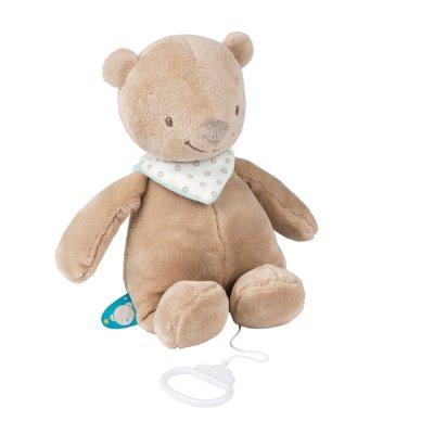 Peluche bébé musical basile l'ours Nattou