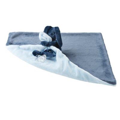 Doudou couverture lapidou bleu marine/ bleu ciel Nattou