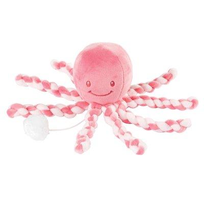 Peluche bébé pieuvre musicale corail/rose pastel Nattou