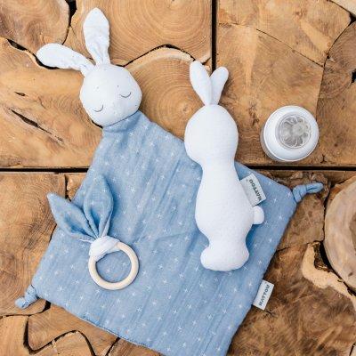 Hochet lapin pure bleu Nattou