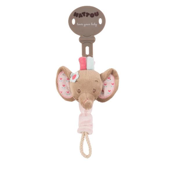 Attache sucette l'éléphant rose Nattou
