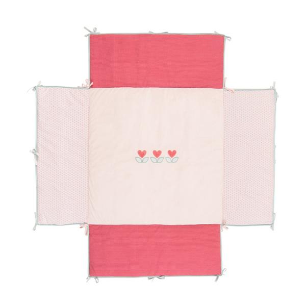 Tapis de parc avec bords 100 x 100 cm charlotte et rose Nattou