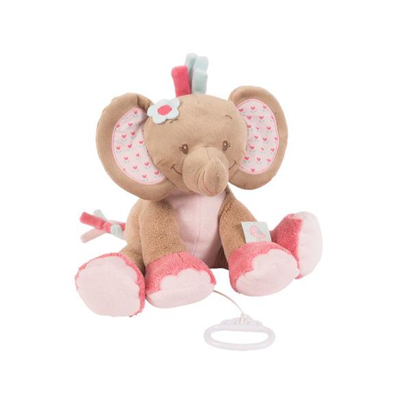 Peluche bébé musical l'élephant rose Nattou