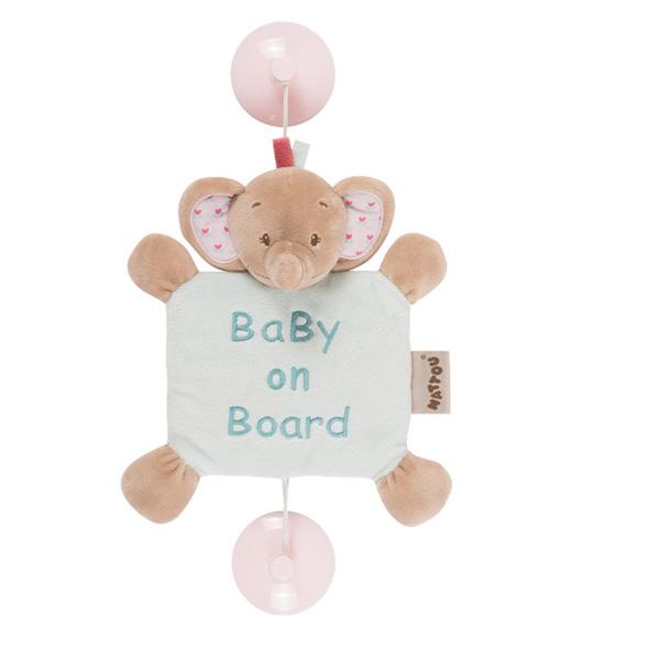 Signalétique bébé baby on board l'éléphant rose Nattou