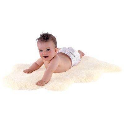 Tapis en peau pour bébé blanc nature 80/90 cm Kaiser
