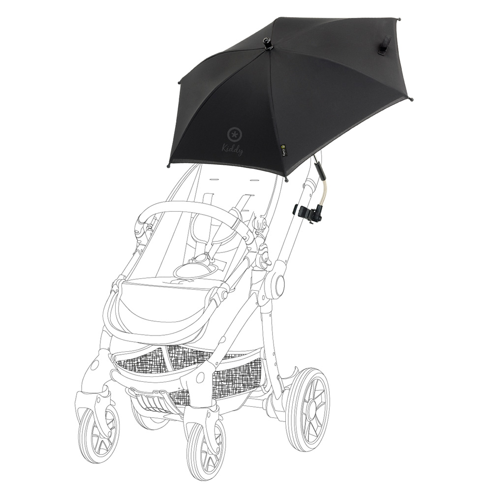 ombrelle poussette universelle noir de kiddy en vente chez cdm. Black Bedroom Furniture Sets. Home Design Ideas