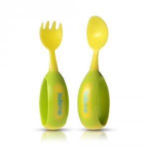 Cuillère + fourchette d'apprentissage lime