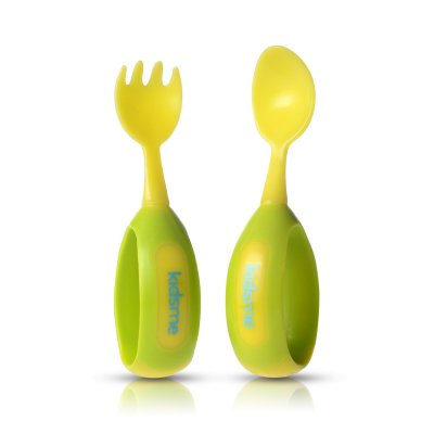 Cuillère + fourchette d'apprentissage lime Kidsme