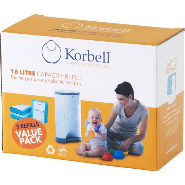 Lot de 3 recharges pour poubelle 16 litres Korbell