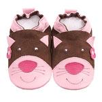 Chaussons bébé chat rose et chocolat pas cher