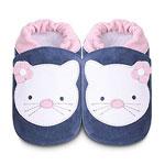 Chaussons bébé chat blanc/bleu pas cher