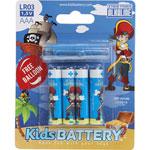 Lot de 4 piles aaa/lr03 alkaline pirates de Kidsbattery