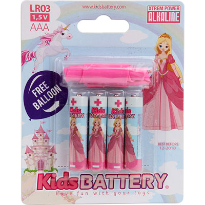 Lot de 4 piles aaa/lr03 alkaline princesses Kidsbattery