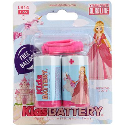 Lot de 2 piles c/lr14 alkaline princesses Kidsbattery