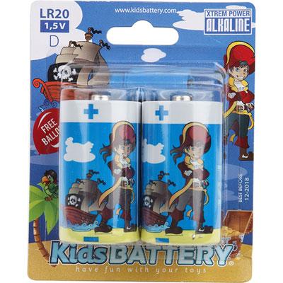 Lot de 2 piles d/lr20 alkaline pirates Kidsbattery