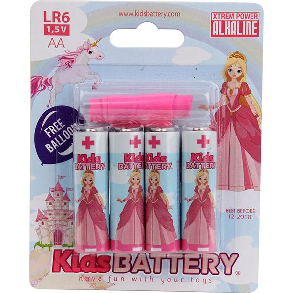 Lot de 4 piles aa/lr6 alkaline pincesses Kidsbattery