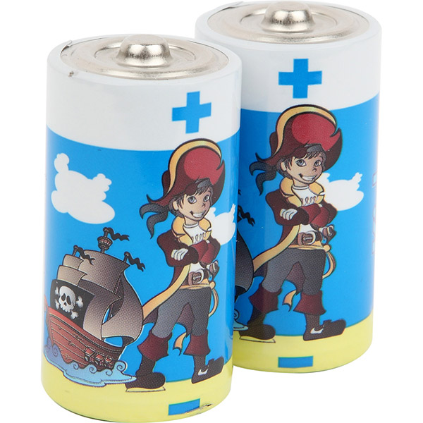 Lot de 2 piles c/lr14 alkaline pirates Kidsbattery