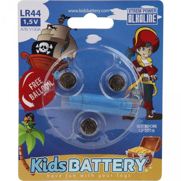 Lot de 3 piles lr 44 alkaline pirates Kidsbattery