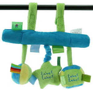 Jouet de voyage bébé arche suspendue bleu/vert