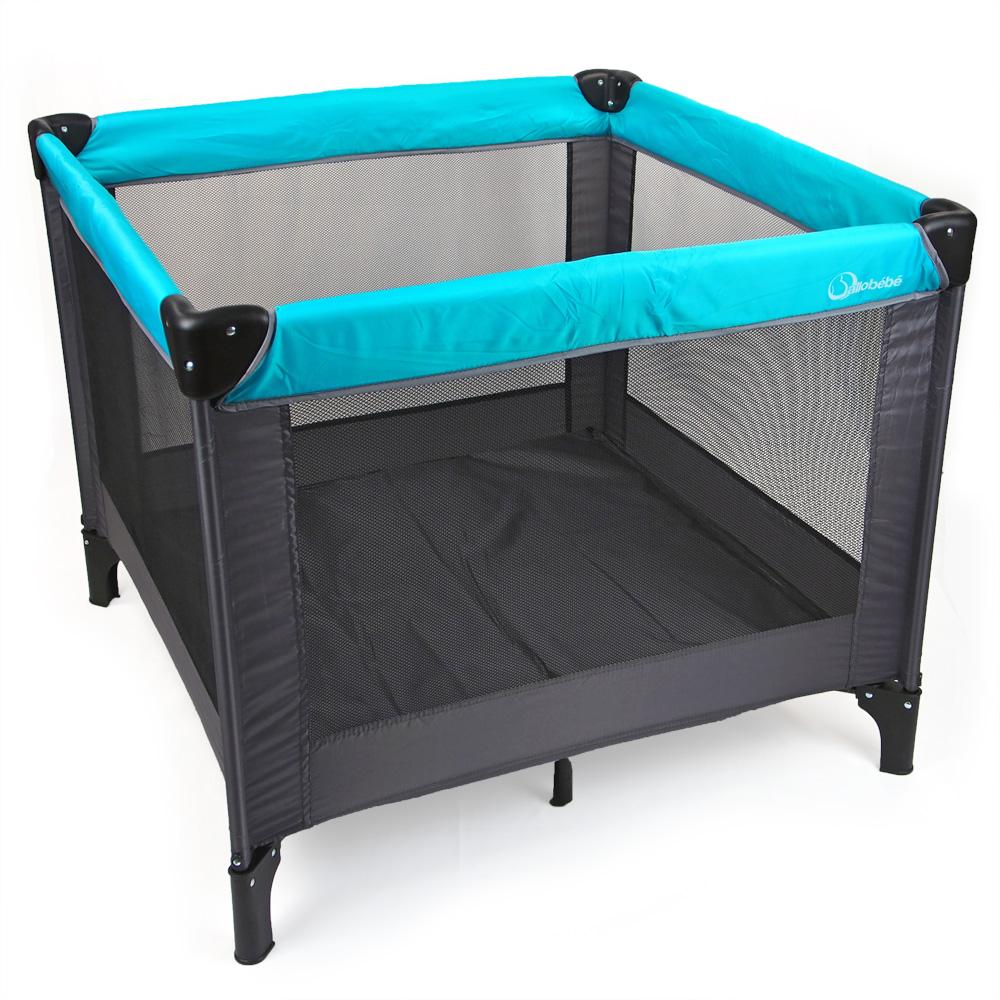 parc pliant gris turquoise 90 x 90 cm de allobebe sur allob b. Black Bedroom Furniture Sets. Home Design Ideas