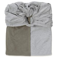 Echarpe de portage sans noeud - gris chiné, olive (réversible)