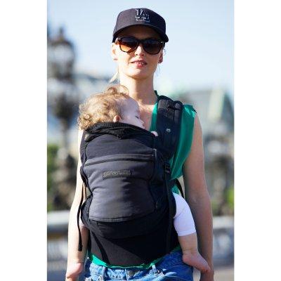 Porte bébé physiocarrier coton - tablier noir poche anthracite Love radius