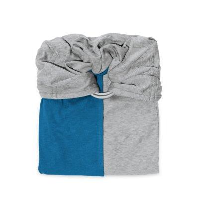 Echarpe de portage sans noeud - gris chiné, bleu canard (réversible) Love radius