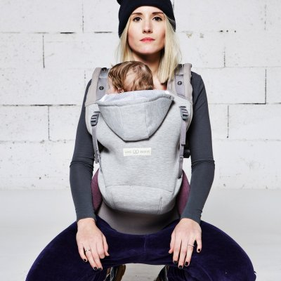 Porte bébé hoodiecarrier coton - gris athlétique Love radius