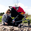 Poussette double plus one incluant le second siège rouge Mountain buggy