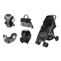 Pack poussette duo clark beone noir avec base , sac à langer et porte bébé
