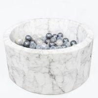 Piscine à balles ronde marbre 90x40cm balles silver pearl transparent