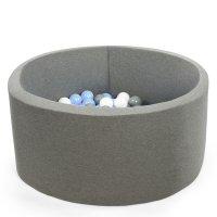 Piscine à balles ronde gris 100x40cm balles silver, baby blue pearl, transparent