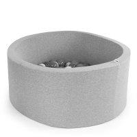 Piscine à balles ronde gris clair 100x40cm balles silver pearl transparent