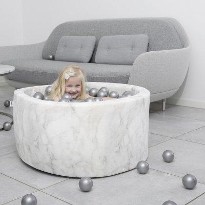 Piscine à balle ronde marbre 90 x 40 cm transparent pearl silver Misioo