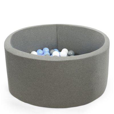 Piscine à balles ronde gris 90x40cm balles silver baby blue pearl transparent Misioo