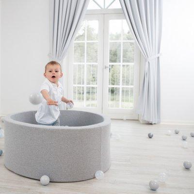 Piscine à balles ronde gris clair 90x40cm balles silver pearl transparent Misioo