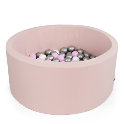 Piscine à balles ronde rose 100x40cm balles silver, baby pink pearl, transparent Misioo