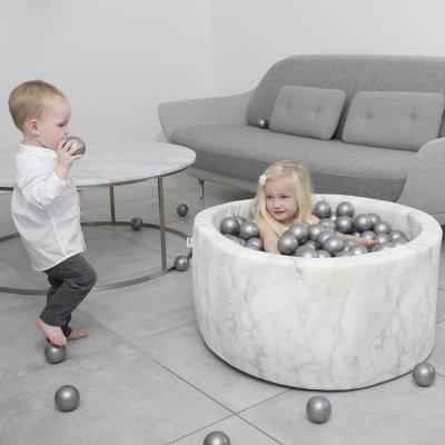 Piscine à balles ronde marbre 100x40cm balles silver pearl transparent Misioo