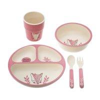 Coffret repas avec assiette a compartiment rose (5 pièces)