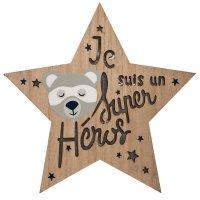 Applique murale étoile led en bois